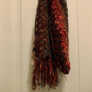NEW Steve Madden Rainbow Stripe Knit Fringe Scarf